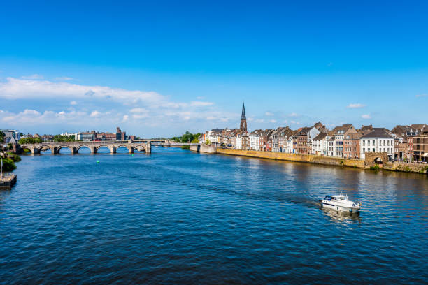 Maastricht Netherlands and Maas River Maastricht Netherlands and Maas River on summer day. meuse river stock pictures, royalty-free photos & images
