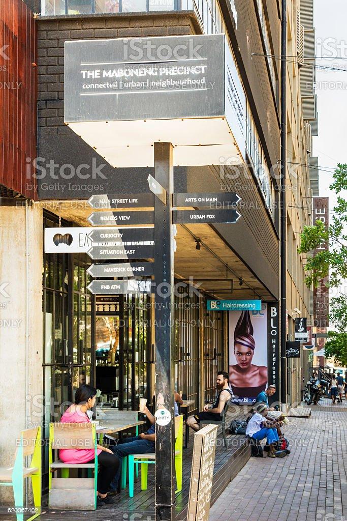 Maboneng precinct restaurant in a street corner zbiór zdjęć royalty-free