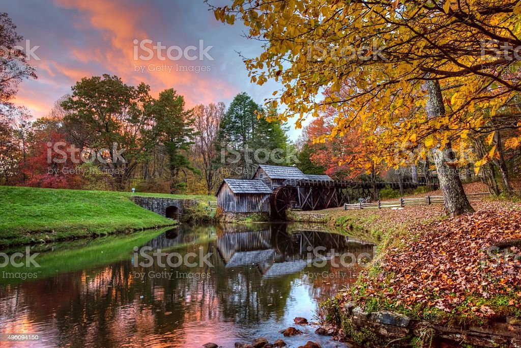 Mabry Mill in Autumn stock photo