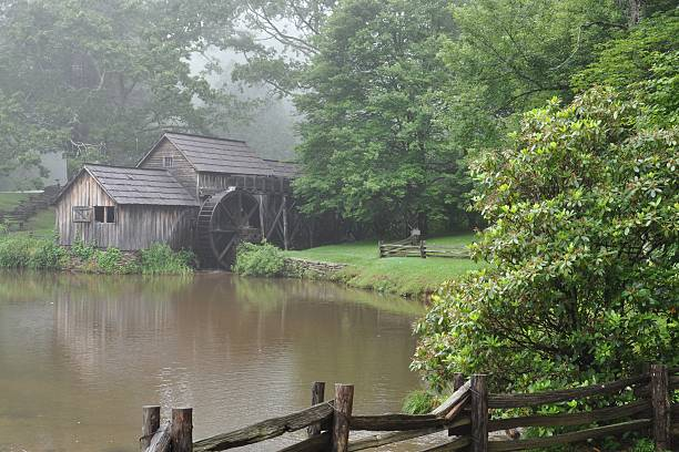 Mabry Mill in the Fog stock photo