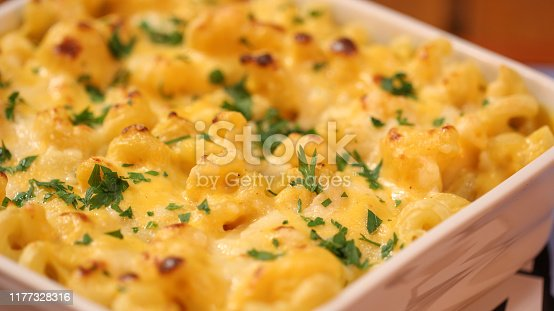Mac and cheese served on a tray