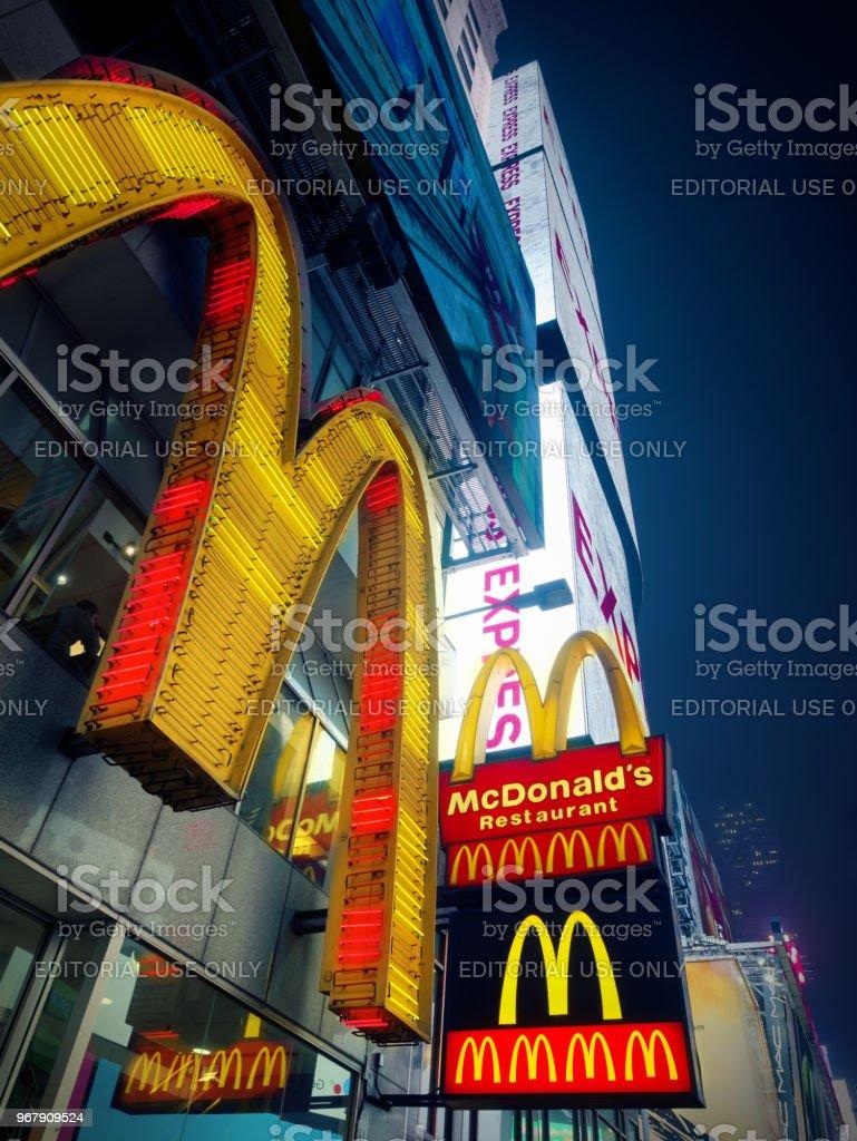 Mac Donald Logo at times square midtown at night stock photo