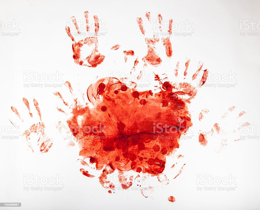 Macabre Blood Fingerpainting, Bloody Handprints 3 stock photo