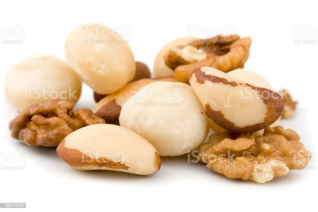 Macadamia, brazil nuts and wallnut royalty-free stock photo