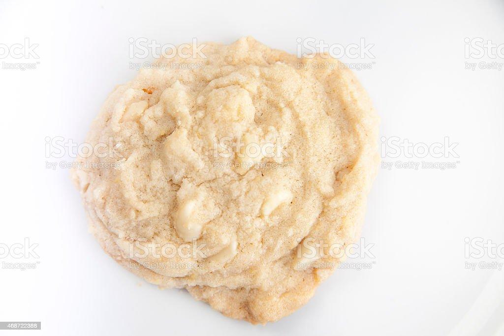 macadamia nut cookie isolated on white stock photo