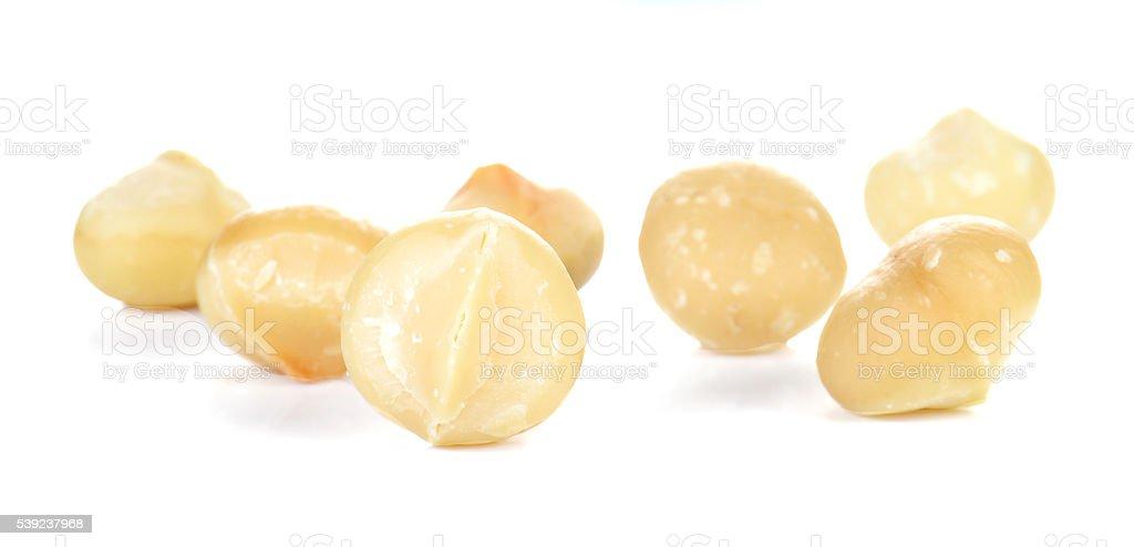 Macadamia placed on white background. royalty-free stock photo