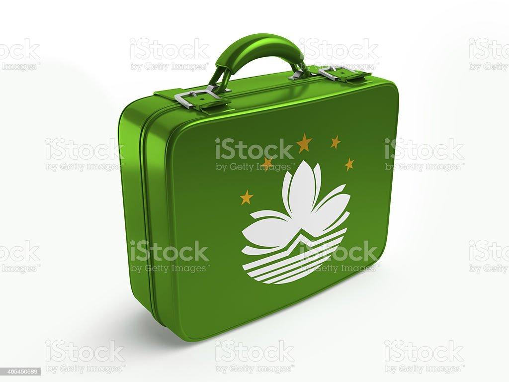 Macao flag on suitcase stock photo