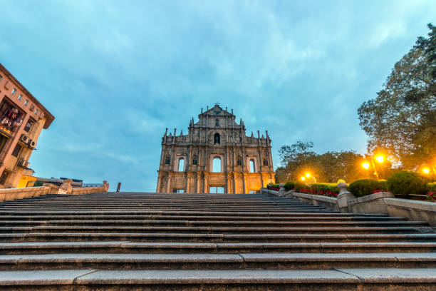 Macao ruins of St. Paul and no stone ladder blank Macao ruins of St. Paul and no stone ladder blank côte d'ivoire stock pictures, royalty-free photos & images