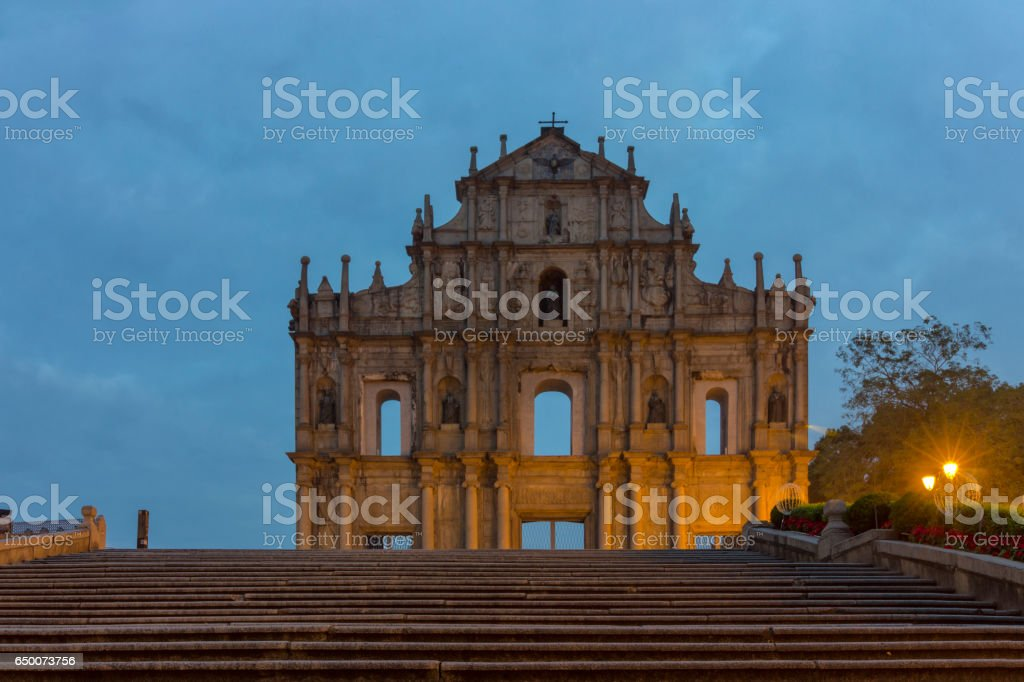 Macao ruins of St. Paul and no stone ladder blank stock photo