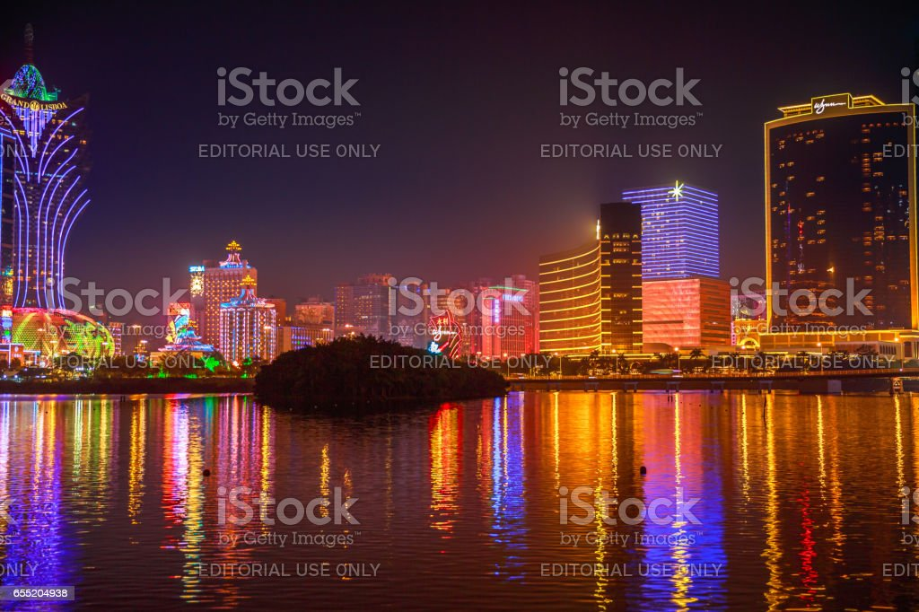 Macao Skyline at night stock photo