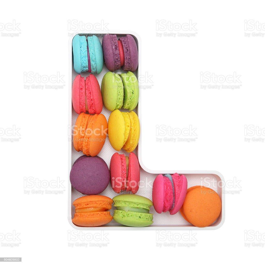 Macaron Letter L stock photo