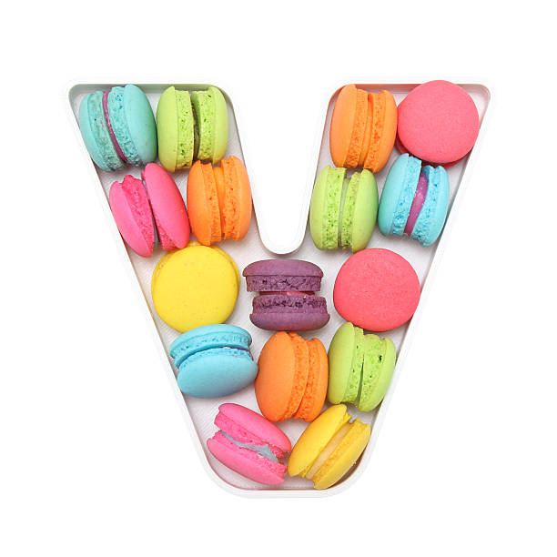 Macaron Letter V Macaron Letter V letter v stock pictures, royalty-free photos & images