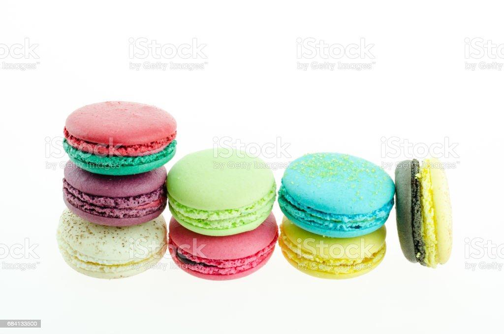 Macaron many colors on white background foto de stock libre de derechos