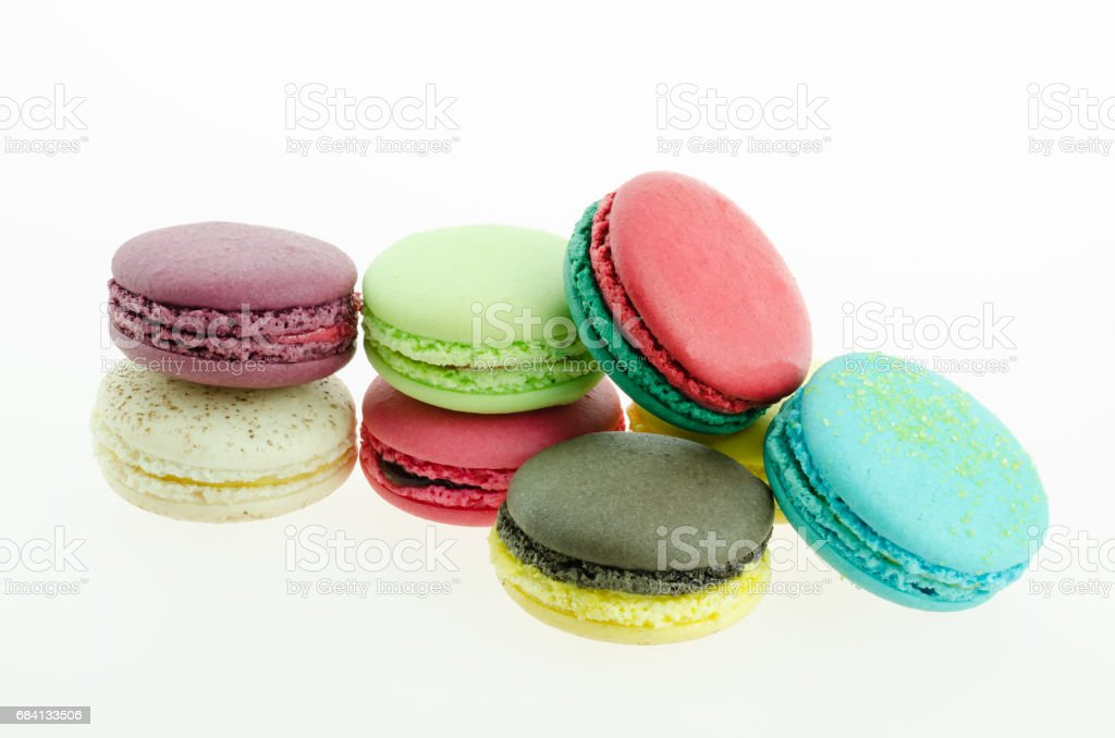 Macaron many colors on white background royalty-free stock photo
