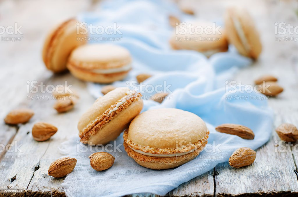 macaron with cream cheese stock photo