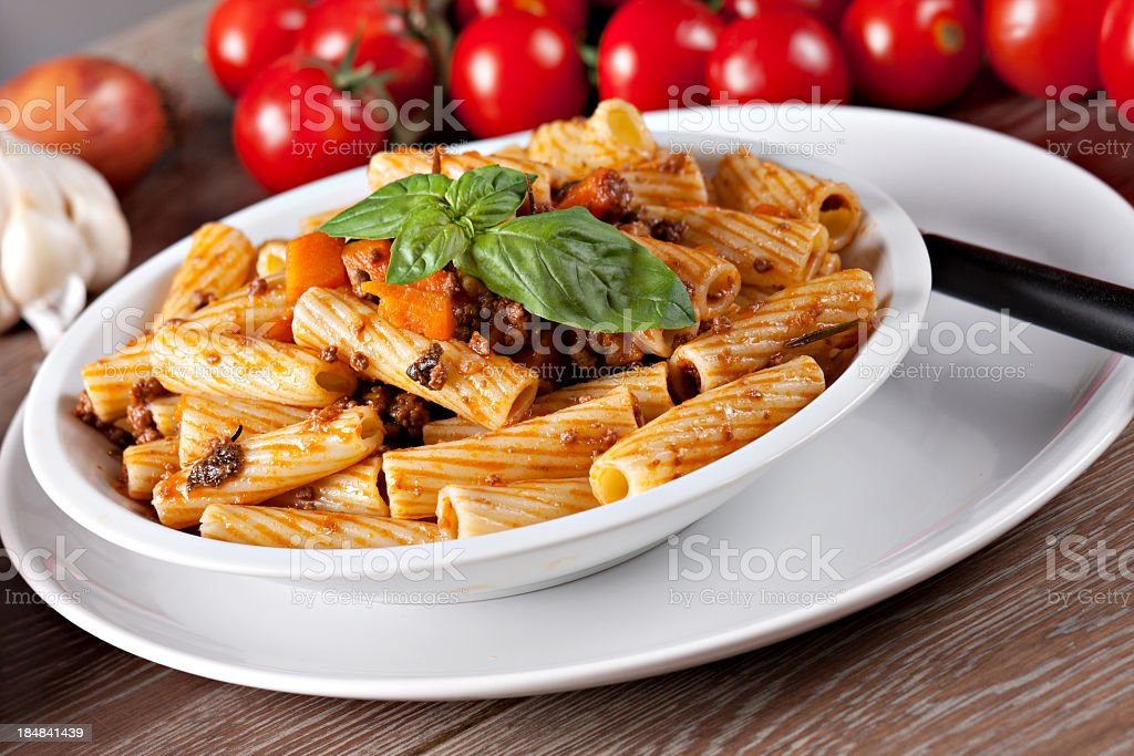 Macaroni Bolognese royalty-free stock photo