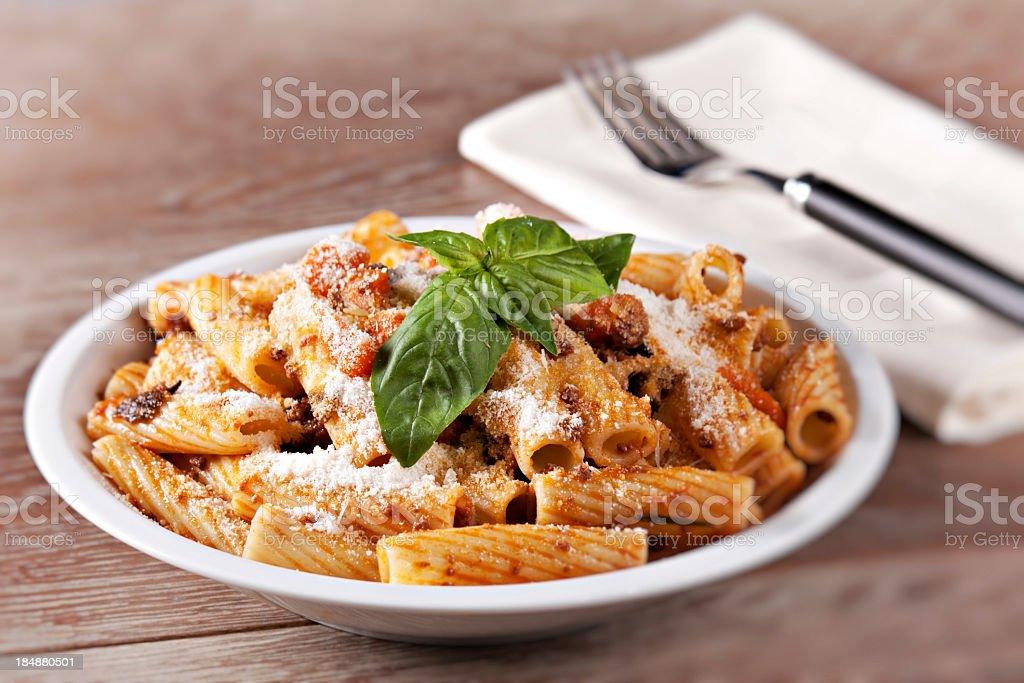 Macaroni Bolognese stock photo