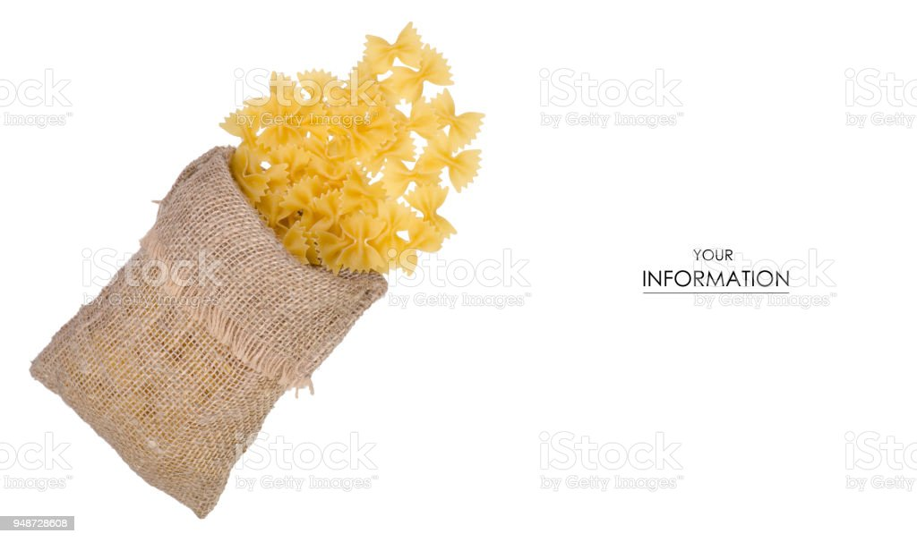 Macaroni bows in a bag pattern stock photo
