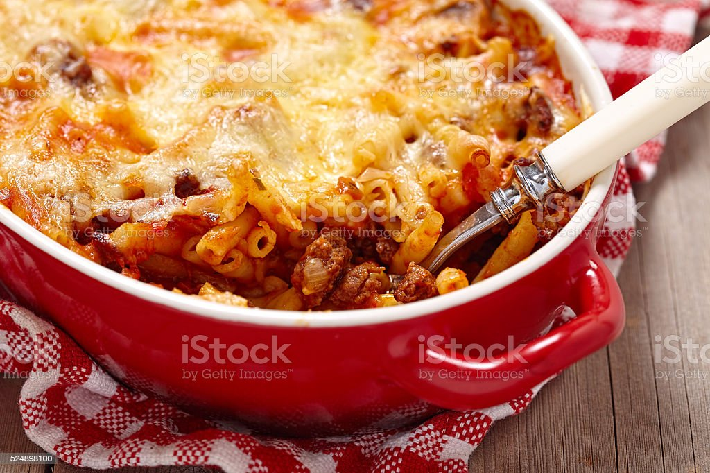 Macaroni casserole with ground beef stock photo