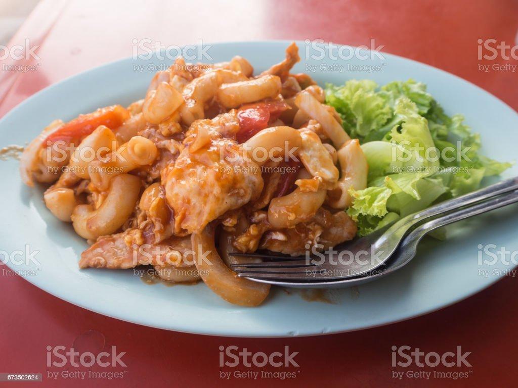 macaroni food in blue dish stock photo
