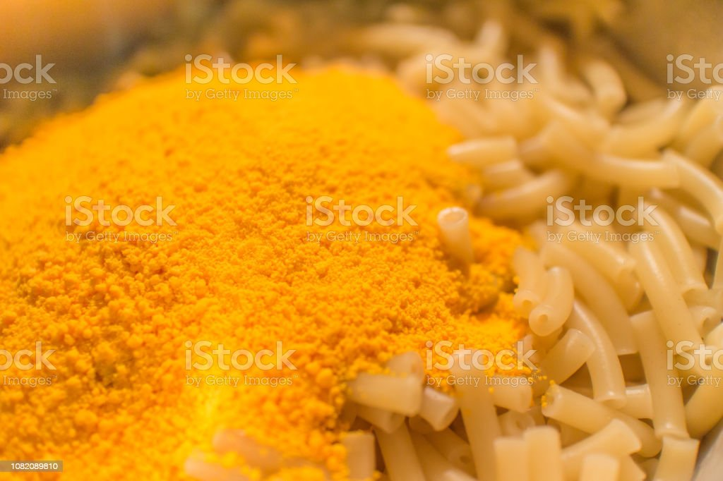 Macaroni Noodles with Powdered Cheese stock photo