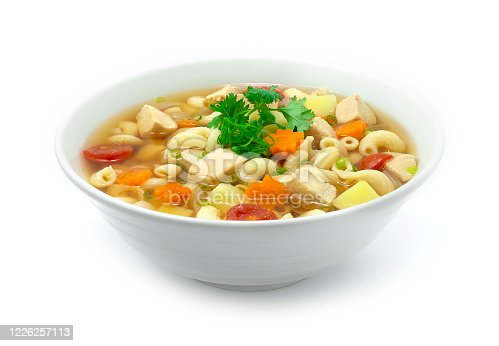 Macaroni Soup with Chicken,tomato,potato,carrots and onion Served as Breakfast, side dish or Maincorse goodtasty delicious decorate Coriander sideview