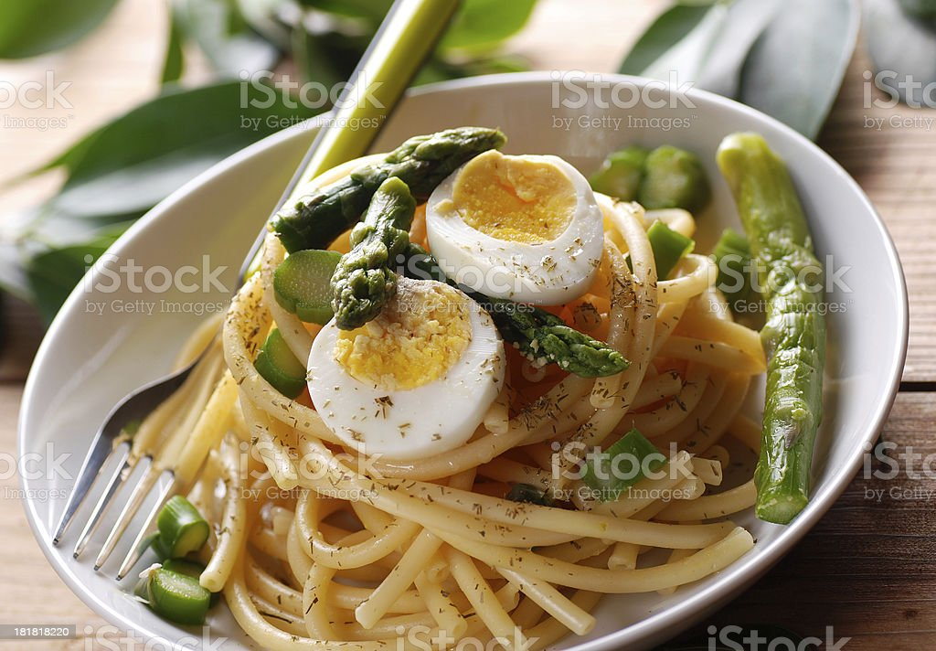 Macaroni with asparagus royalty-free stock photo