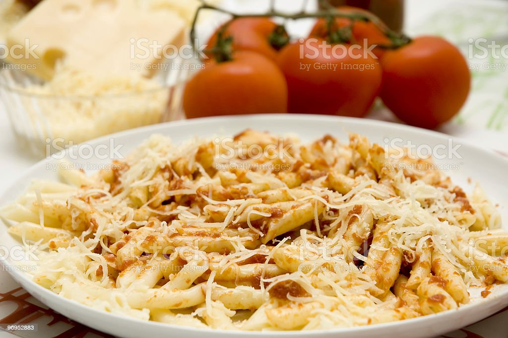 Macaroni With Tomato And Cheese royalty-free stock photo