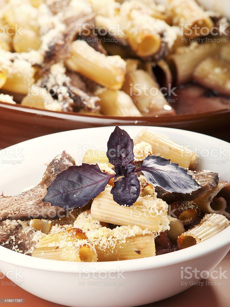 Macaroni with veal casserole royalty-free stock photo
