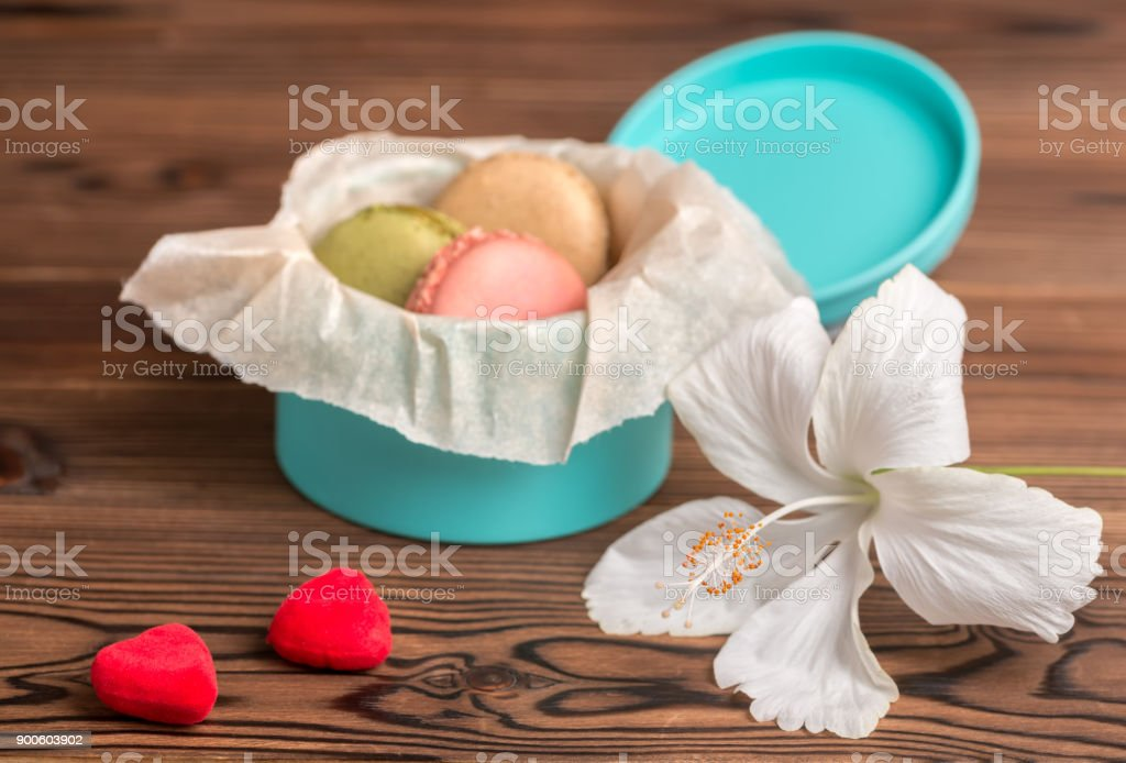 Macarons Cake In Gift Box Couple Red Hearts And White Hibiscus