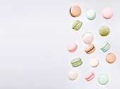 Color cake macarons, fly falling sweet macaroon.