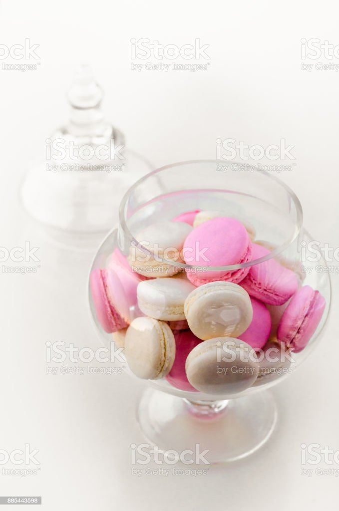 Macarons In A Glass Vase On A White Background Sweet Macarons Top