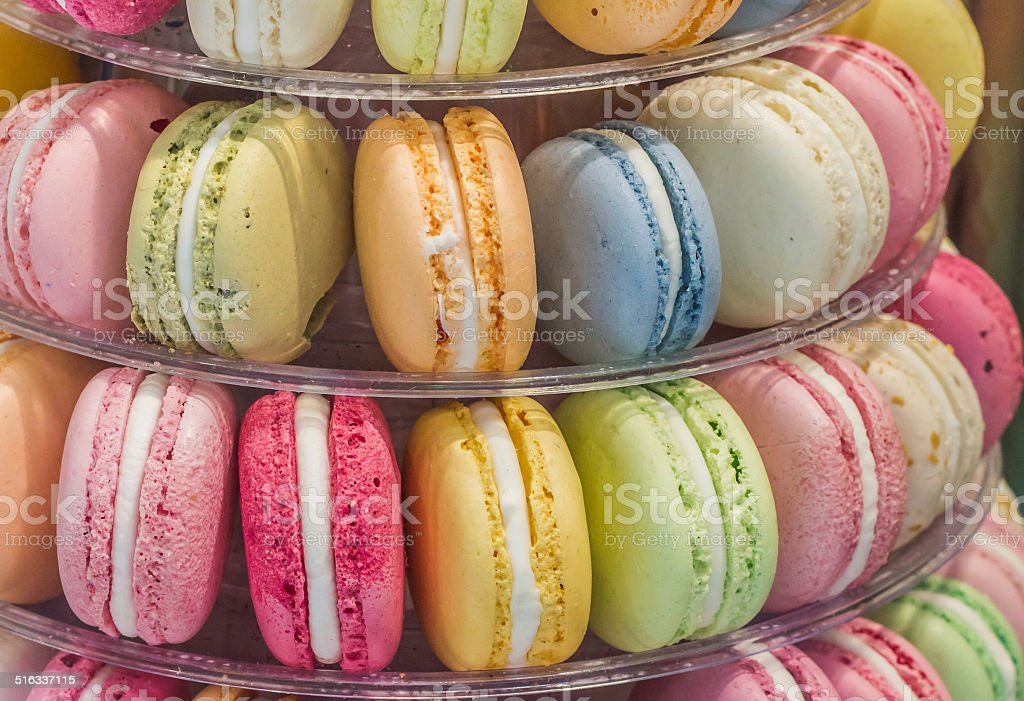 Macarons in different colors and flavors stock photo