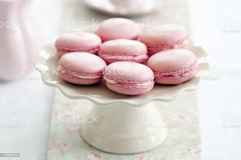 Macarons Parisian macarons on a cakestand Afternoon Tea Stock Photo