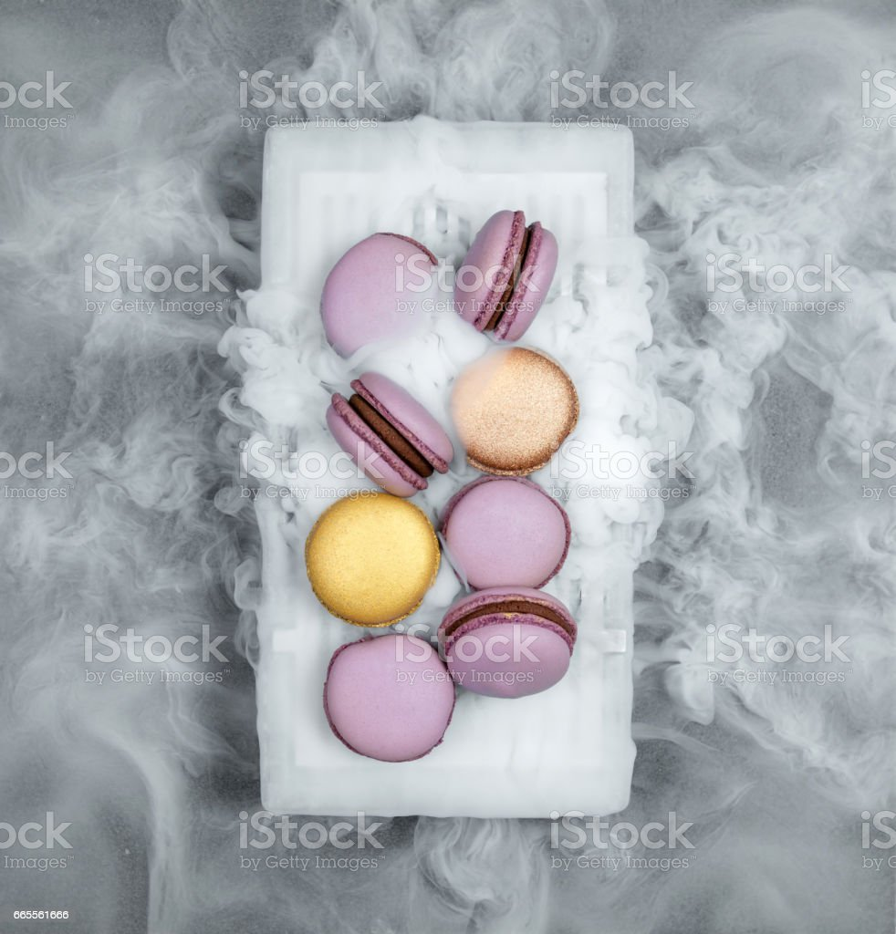 Macarons with dry ice stock photo