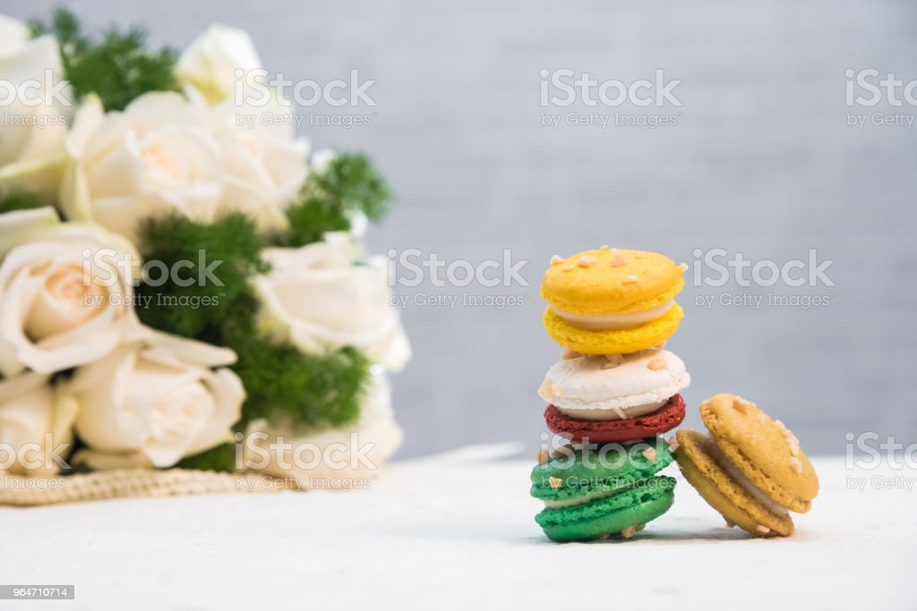 Macaroon on white table, food concept royalty-free stock photo