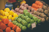 Close-up of colorful macaroons in store. Famous traditional sweet food in France