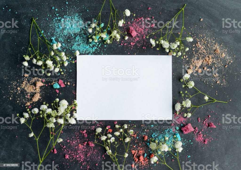 Macaroons and greeting card stock photo