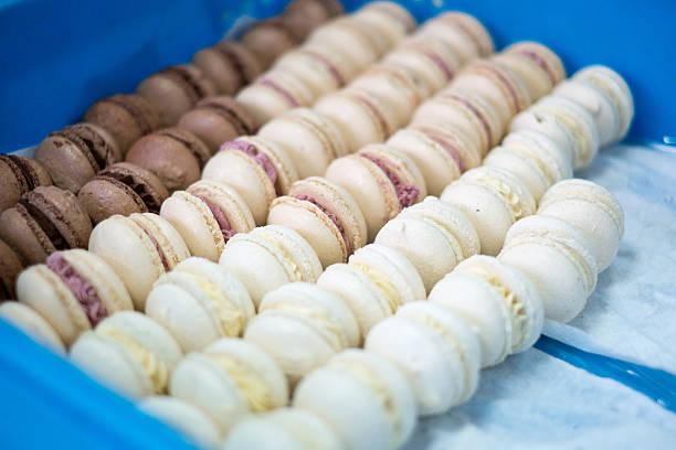 Makronen Schokolade und Vanille in eine/Tee-Sortiment – Foto