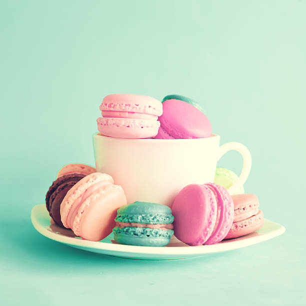 Macaroons in a cup stock photo