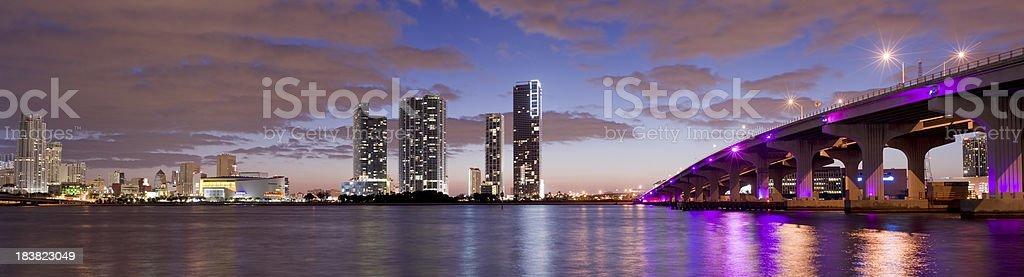 MacArthur Causeway and City Skyline in Miami USA stock photo