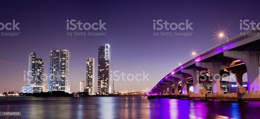 MacArthur Causeway and Miami City Skyline in Florida USA stock photo