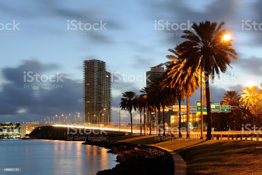 MacArthur Causeway and South Beach stock photo