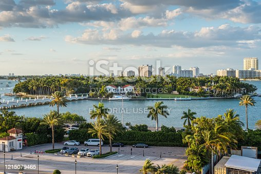 Miami, FL, United States - April 20, 2019:  View of MacArthur Causeway and the Star Island from the cruise ship at Biscayne Bay in Miami, Florida, United States of America.