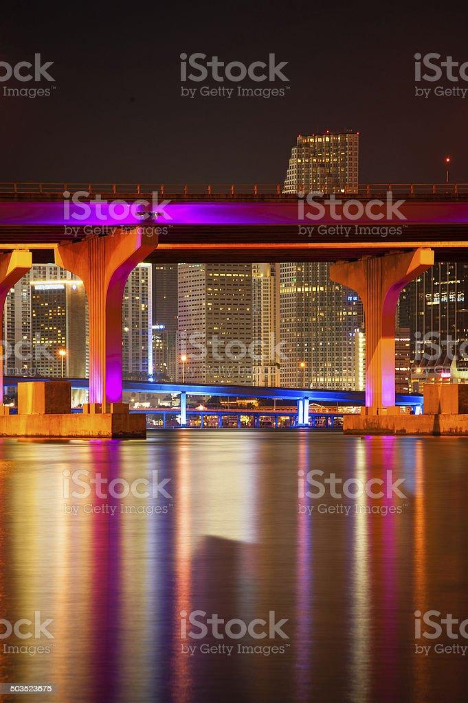 MacArthur Causeway Bridge at night stock photo
