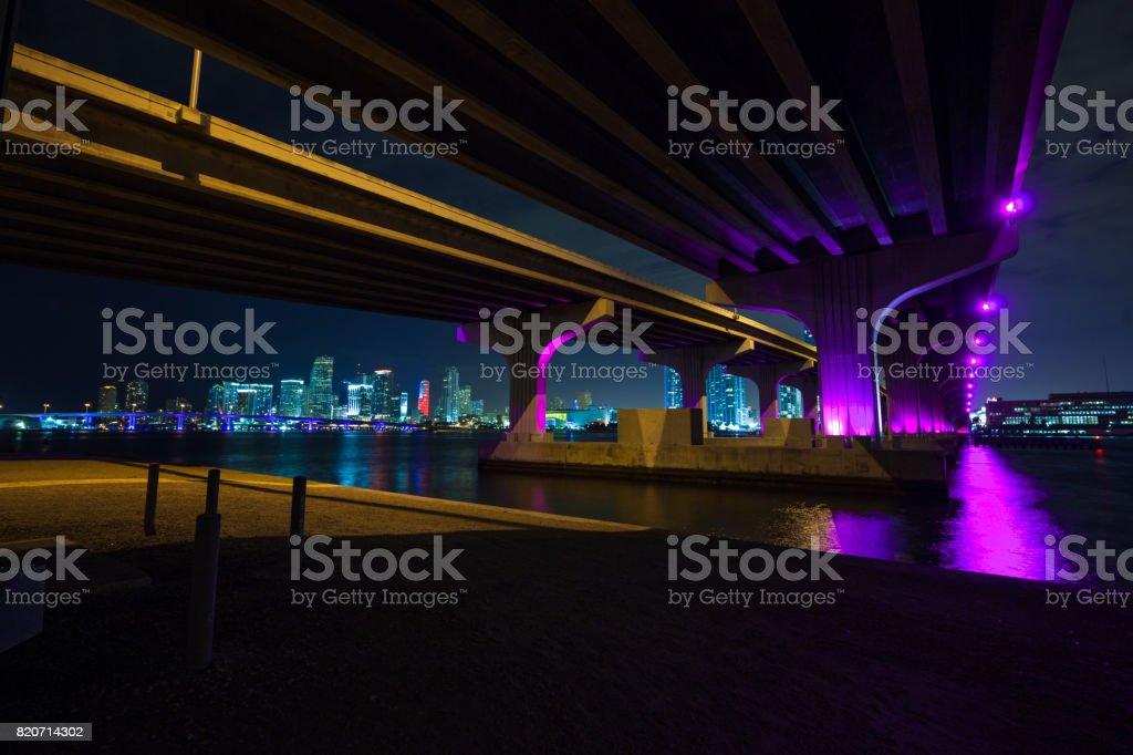 MacArthur Causeway bridge  in Miami stock photo