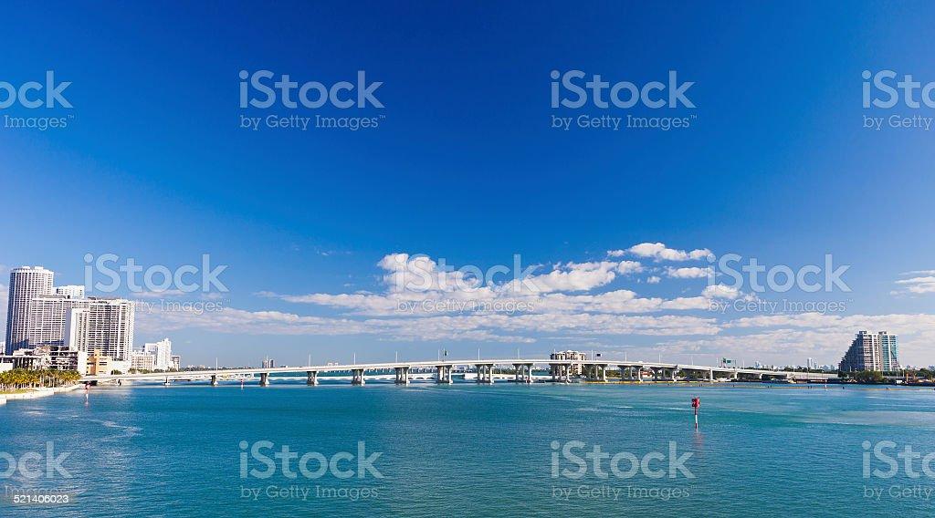 MacArthur Causeway In Miami, Florida stock photo