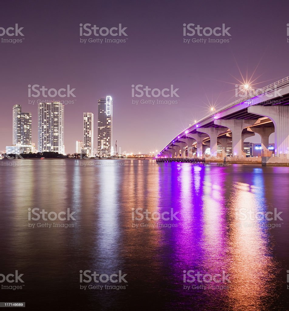 MacArthur Causeway in Miami Florida USA stock photo