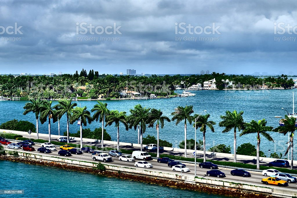Macartur Causeway and its islands stock photo