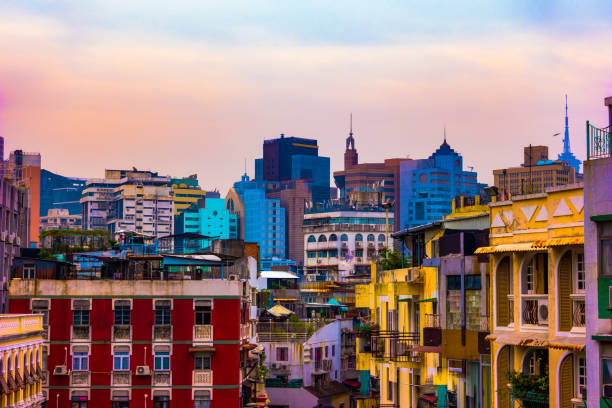 Macau, China city skyline at dusk. stock photo